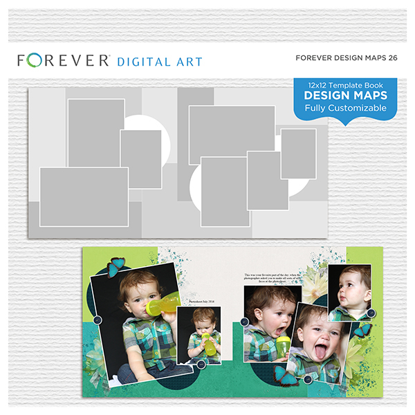 Forever Design Maps 26 12x12 Digital Art - Digital Scrapbooking Kits
