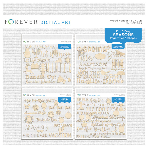 Wood Veneer Titles & Shapes - Bundle Digital Art - Digital Scrapbooking Kits