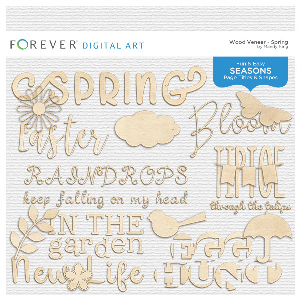 Wood Veneer Titles & Shapes - Spring