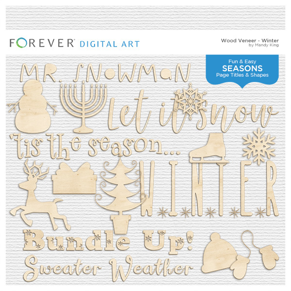 Wood Veneer Titles & Shapes - Winter Digital Art - Digital Scrapbooking Kits