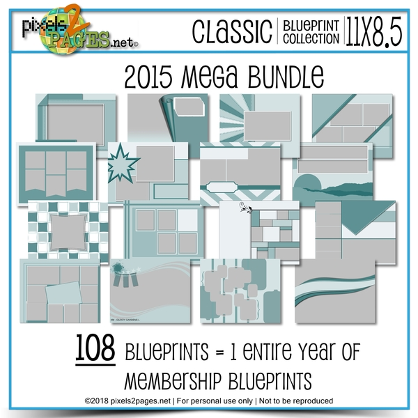 Classic Blueprint Collection 2015 - Mega Bundle (11x8.5) Digital Art - Digital Scrapbooking Kits