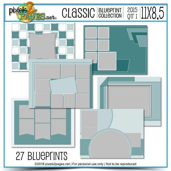 Classic Blueprint Collection 2015 - Quarter 1 (11x8.5) Digital Art - Digital Scrapbooking Kits