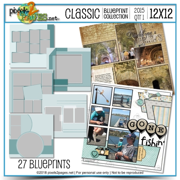 Classic Blueprint Collection 2015 - Quarter 1 (12x12) Digital Art - Digital Scrapbooking Kits