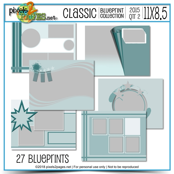 Classic Blueprint Collection 2015 - Quarter 2 (11x8.5) Digital Art - Digital Scrapbooking Kits