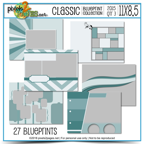Classic Blueprint Collection 2015 - Quarter 3 (11x8.5) Digital Art - Digital Scrapbooking Kits