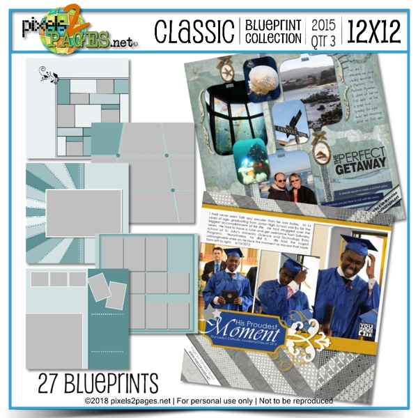 Classic Blueprint Collection 2015 - Quarter 3 (12x12) Digital Art - Digital Scrapbooking Kits
