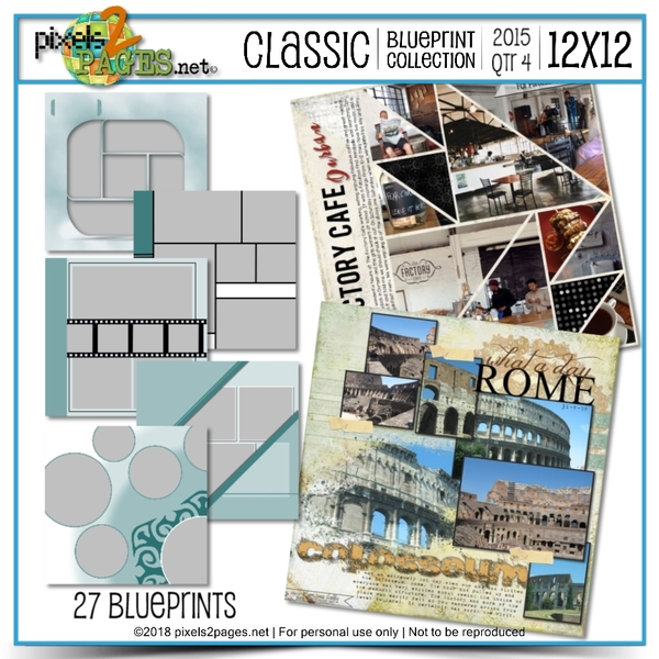 Classic Blueprint Collection 2015 - Quarter 4 (12x12) Digital Art - Digital Scrapbooking Kits