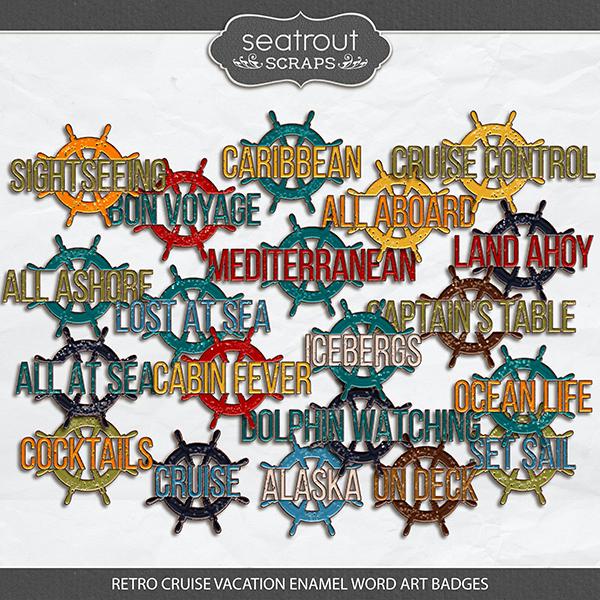 Retro Cruise Vacation Badges Digital Art - Digital Scrapbooking Kits