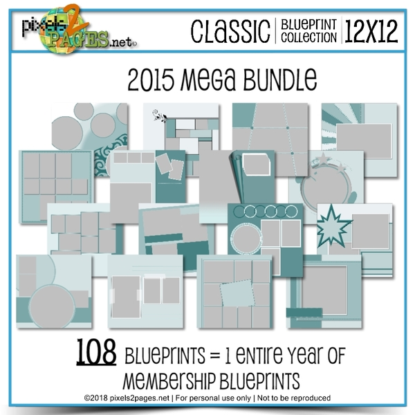 Classic Blueprint Collection 2015 Mega Bundle Digital Art - Digital Scrapbooking Kits