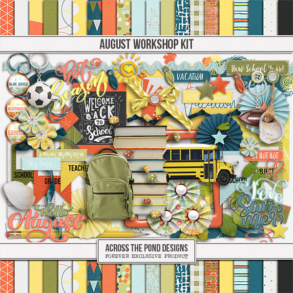 August Workshop - Page Kit Digital Art - Digital Scrapbooking Kits