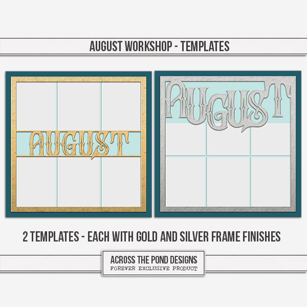 August Workshop - Templates Digital Art - Digital Scrapbooking Kits