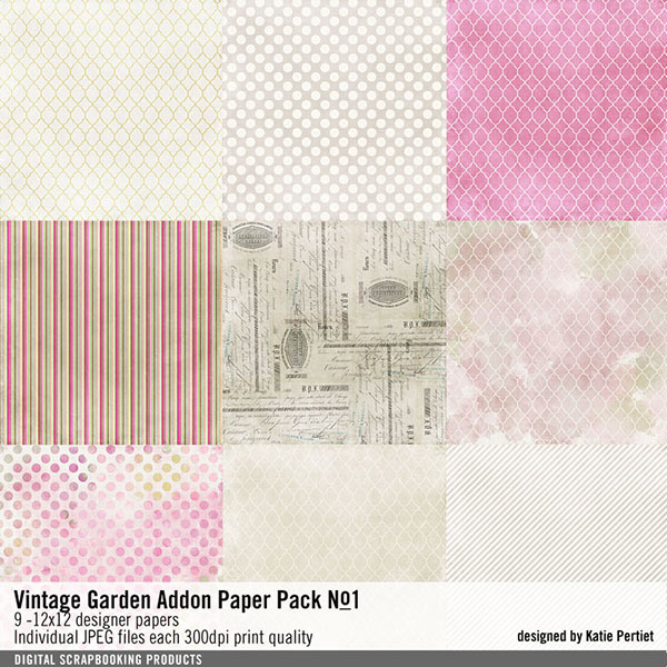Vintage Garden Add-on Paper Pack No. 01 Digital Art - Digital Scrapbooking Kits