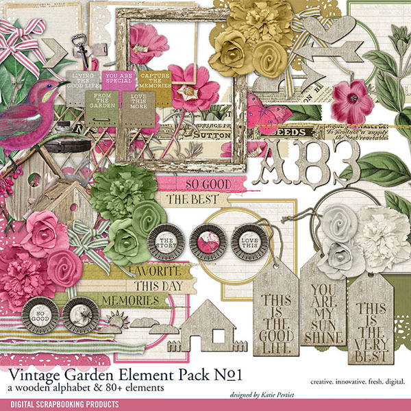 Vintage Garden Element Pack No. 01 Digital Art - Digital Scrapbooking Kits
