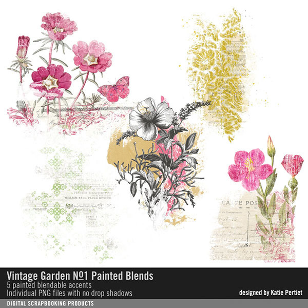 Vintage Garden Painted Blends No. 01 Digital Art - Digital Scrapbooking Kits