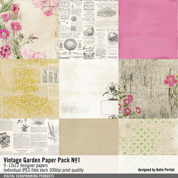 Vintage Garden Paper Pack No. 01 Digital Art - Digital Scrapbooking Kits