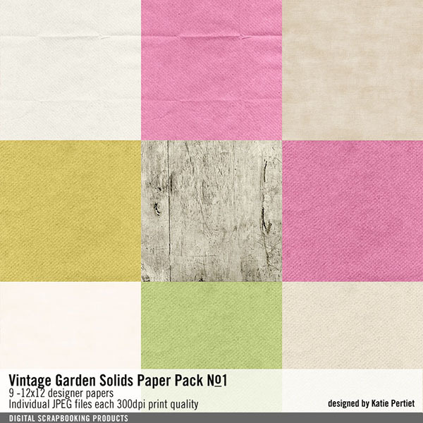 Vintage Garden Solids Paper Pack No. 01 Digital Art - Digital Scrapbooking Kits