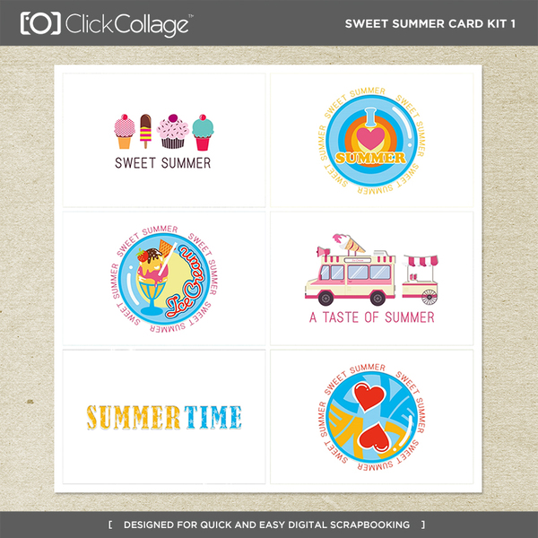 Sweet Summer Card Kit 1 Digital Art - Digital Scrapbooking Kits