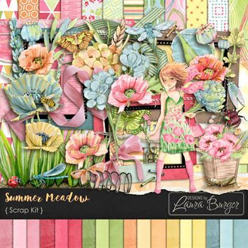 Summer Meadow Scrap Kit Digital Art - Digital Scrapbooking Kits