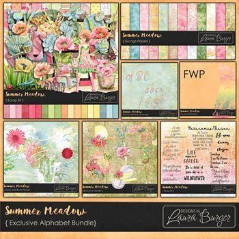 Summer Meadows Exclusive Bundle Fwp Brush Digital Art - Digital Scrapbooking Kits