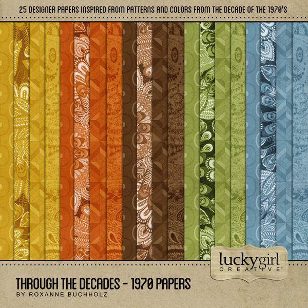 Through The Decades - 1970 Papers Digital Art - Digital Scrapbooking Kits