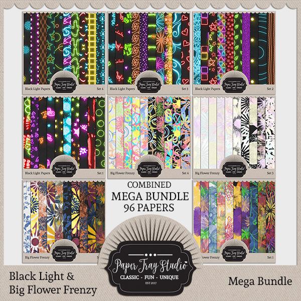 Black Light Papers & Big Flower Frenzy Mega Bundle Digital Art - Digital Scrapbooking Kits