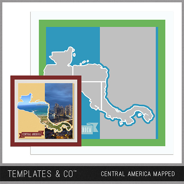 Central America Mapped - Central America Digital Art - Digital Scrapbooking Kits