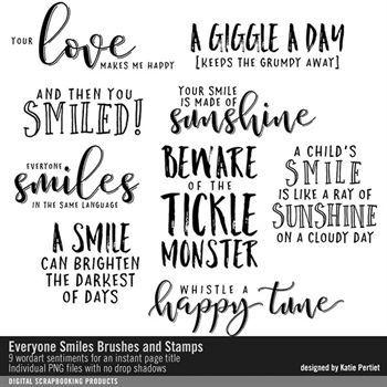 Everyone Smiles Brushes And Stamps Digital Art - Digital Scrapbooking Kits