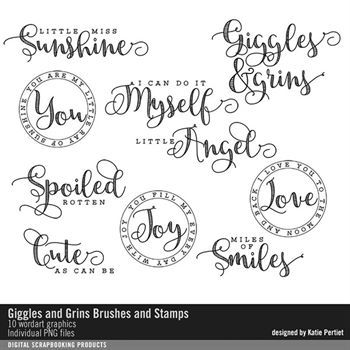 Giggles And Grins Brushes And Stamps Digital Art - Digital Scrapbooking Kits