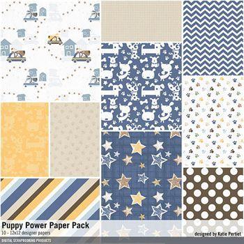 Puppy Power Paper Pack Digital Art - Digital Scrapbooking Kits