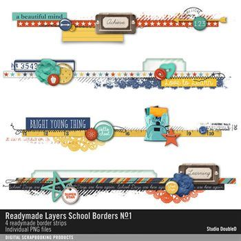 Readymade Layers School Borders No. 01 Digital Art - Digital Scrapbooking Kits