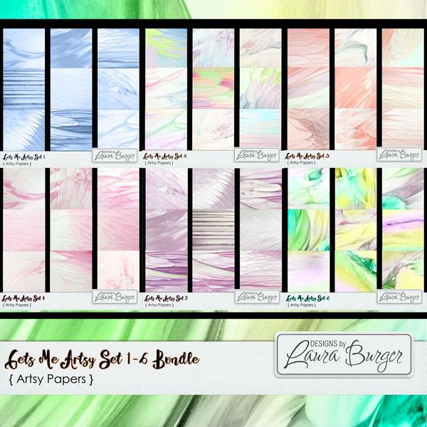 Gets Me Artsy Set 1- 6 Bundle Digital Art - Digital Scrapbooking Kits