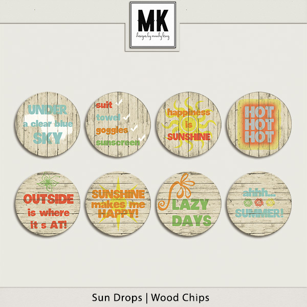 Sun Drops Collection - Wood Chips Digital Art - Digital Scrapbooking Kits