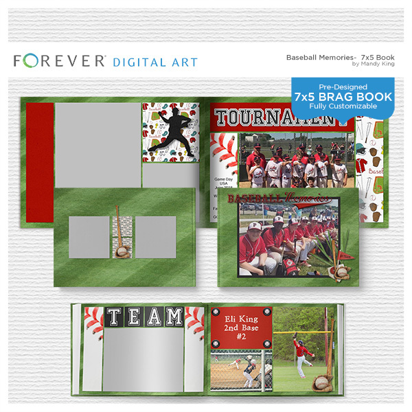 Baseball Memories - 7x5 Brag Book Digital Art - Digital Scrapbooking Kits