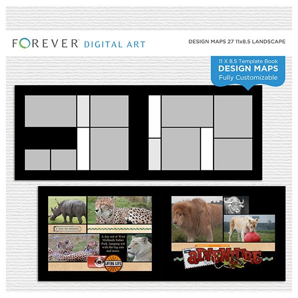 Forever Design Maps 27 11x8.5 Digital Art - Digital Scrapbooking Kits