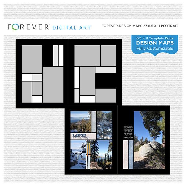 Forever Design Maps 27 8.5x11 Portrait Digital Art - Digital Scrapbooking Kits