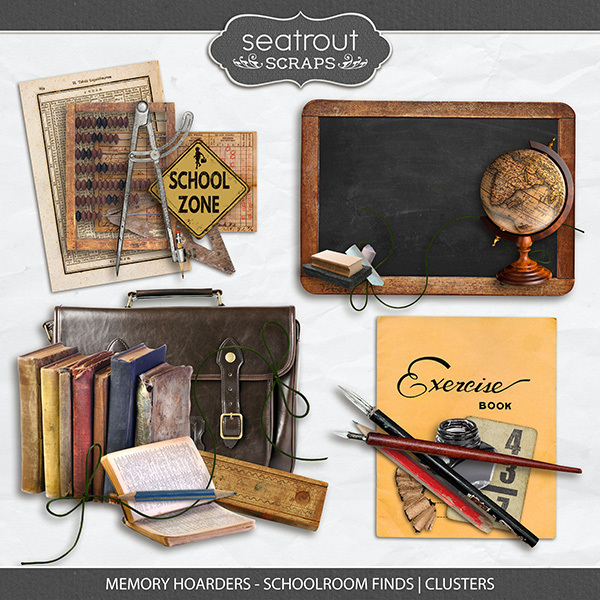 Memory Hoarders - Schoolroom Finds Clusters Digital Art - Digital Scrapbooking Kits