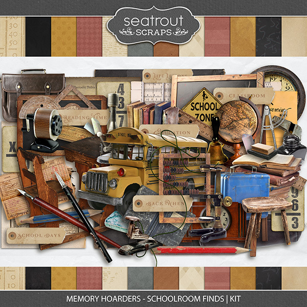 Memory Hoarders - Schoolroom Finds Kit Digital Art - Digital Scrapbooking Kits