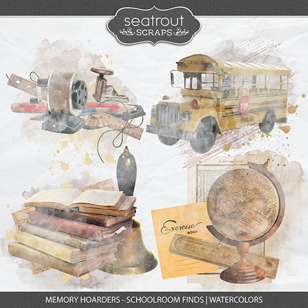 Memory Hoarders - Schoolroom Finds Watercolors Digital Art - Digital Scrapbooking Kits