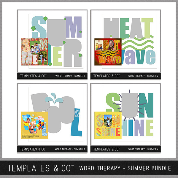Word Therapy - Summer Bundle Digital Art - Digital Scrapbooking Kits