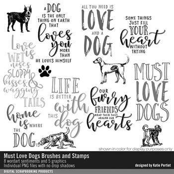 Must Love Dogs Brushes And Stamps Digital Art - Digital Scrapbooking Kits