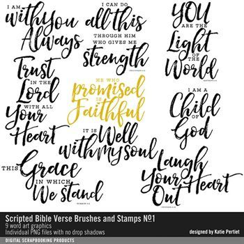 Scripted Bible Verse Brushes And Stamps No. 01 Digital Art - Digital Scrapbooking Kits
