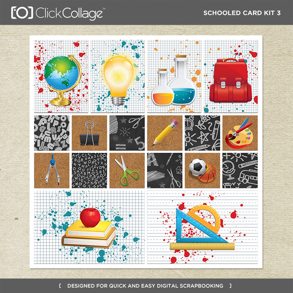 Schooled Card Kit 3 Digital Art - Digital Scrapbooking Kits