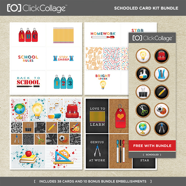 Schooled Card Kit Bundle Digital Art - Digital Scrapbooking Kits