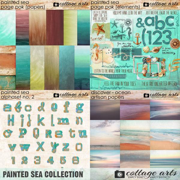 Painted Sea Collection Digital Art - Digital Scrapbooking Kits
