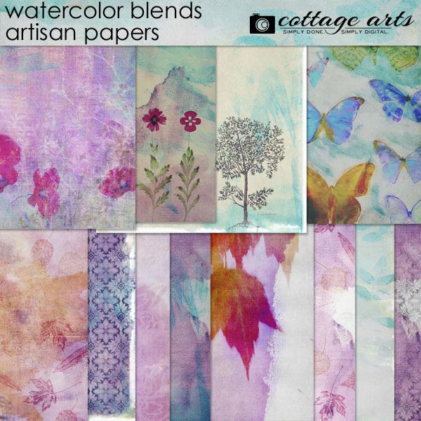 Watercolor Blends Artisan Papers Digital Art - Digital Scrapbooking Kits