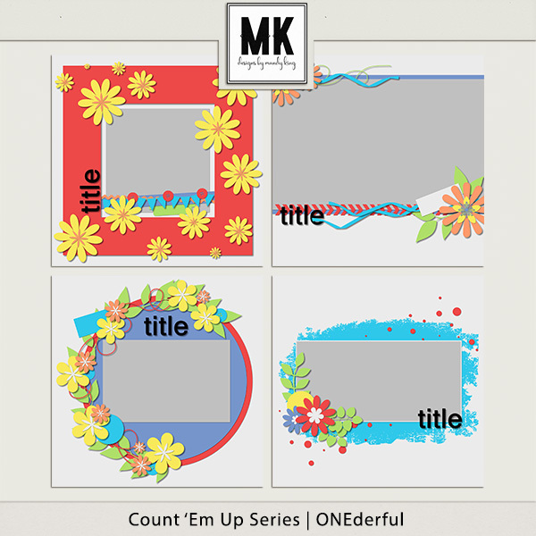 Count 'em Up Templates - Onederful Digital Art - Digital Scrapbooking Kits