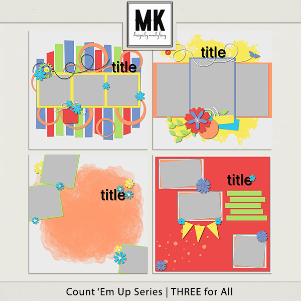 Count 'em Up Templates - Three For All Digital Art - Digital Scrapbooking Kits