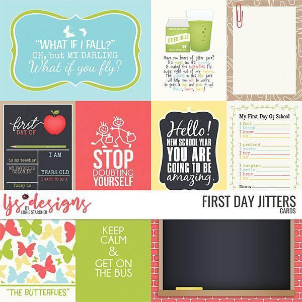First Day Jiters 2.0 Cards Digital Art - Digital Scrapbooking Kits