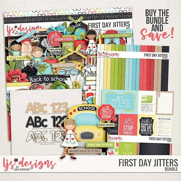 First Day Jitters 2.0 Bundle Digital Art - Digital Scrapbooking Kits