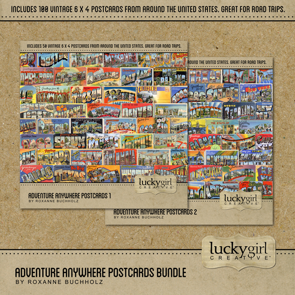 Adventure Anywhere Postcards Bundle Digital Art - Digital Scrapbooking Kits